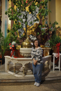In front of the baptistry. Photo copyright James Hrkach