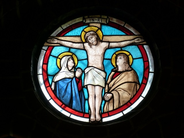 stained glass Jesus on cross